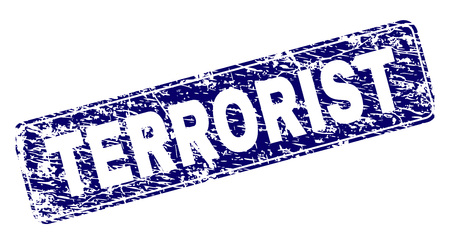 TERRORIST stamp seal print with distress texture. Seal shape is a rounded rectangle with frame. Blue vector rubber print of TERRORIST text with dirty texture.