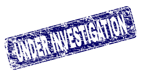 UNDER INVESTIGATION stamp seal print with distress style. Seal shape is a rounded rectangle with frame. Blue vector rubber print of UNDER INVESTIGATION caption with dust style. 向量圖像