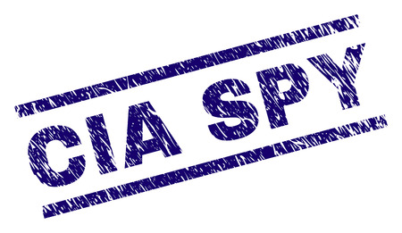CIA SPY seal print with scratced style. Blue vector rubber print of CIA SPY text with dust texture. Text caption is placed between parallel lines. Ilustração