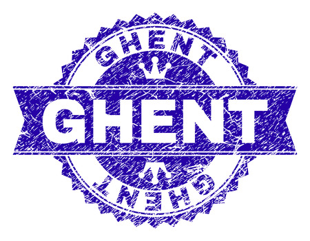 GHENT rosette stamp watermark with distress style. Designed with round rosette, ribbon and small crowns. Blue vector rubber watermark of GHENT title with dirty texture.