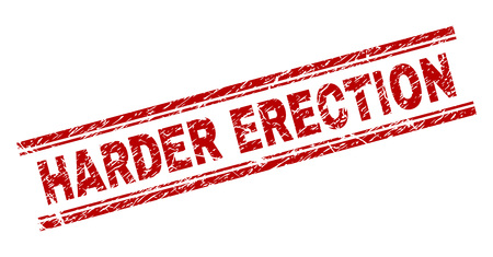 HARDER ERECTION seal print with grunge effect. Red vector rubber print of HARDER ERECTION tag with unclean texture. Text tag is placed between double parallel lines.
