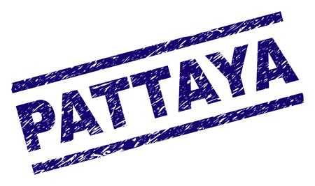 PATTAYA seal print with scratced style. Blue vector rubber print of PATTAYA label with dust texture. Text caption is placed between parallel lines.