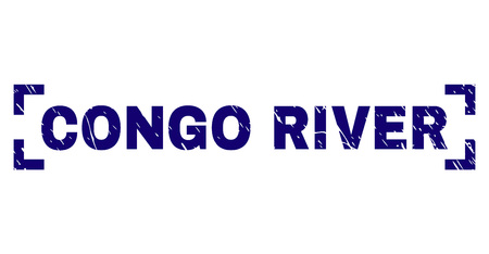 CONGO RIVER title seal print with distress texture. Text caption is placed inside corners. Blue vector rubber print of CONGO RIVER with unclean texture. Ilustração