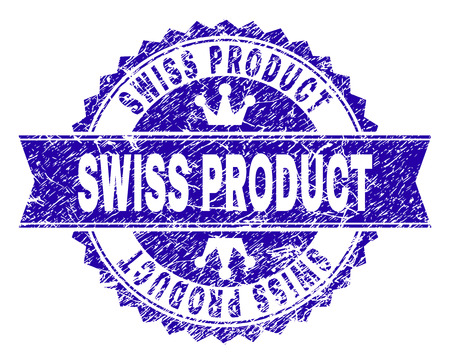 SWISS PRODUCT rosette seal watermark with grunge style. Designed with round rosette, ribbon and small crowns. Blue vector rubber watermark of SWISS PRODUCT text with corroded texture.