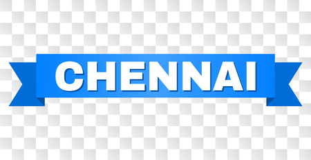 CHENNAI text on a ribbon. Designed with white caption and blue stripe. Vector banner with CHENNAI tag on a transparent background. Illustration