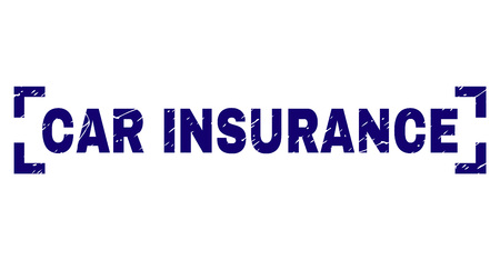 CAR INSURANCE text seal stamp with distress texture. Text caption is placed inside corners. Blue vector rubber print of CAR INSURANCE with scratched texture.