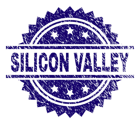 SILICON VALLEY stamp seal watermark with distress style. Blue vector rubber print of SILICON VALLEY label with retro texture.