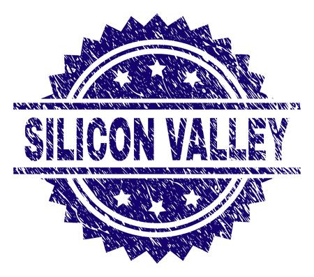 SILICON VALLEY Stempelsiegel-Wasserzeichen mit Distress-Stil. Blauer Vektorgummidruck des SILICON VALLEY-Etiketts mit Retro-Textur.
