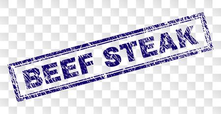 BEEF STEAK Stempelsiegel-Wasserzeichen mit Gummidruck und doppelt gerahmter Rechteckform. Stempel wird auf einem transparenten Hintergrund platziert.