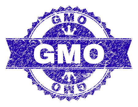GMO rosette seal watermark with distress texture. Designed with round rosette, ribbon and small crowns. Blue vector rubber watermark of GMO label with dust texture.