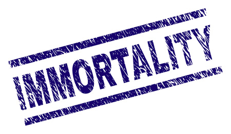 IMMORTALITY seal watermark with grunge style. Blue vector rubber print of IMMORTALITY text with retro texture. Text title is placed between parallel lines.