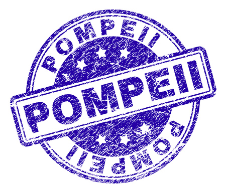 POMPEII stamp seal watermark with grunge texture. Designed with rounded rectangles and circles. Blue vector rubber print of POMPEII caption with corroded texture.