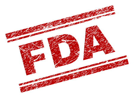 FDA-zegelafdruk met gecorrodeerde textuur. Rode vectorrubberafdruk van FDA-titel met gecorrodeerde textuur. Teksttitel wordt tussen dubbele parallelle lijnen geplaatst.