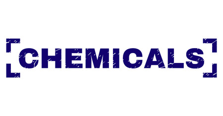 CHEMICALS label seal print with grunge style. Text label is placed inside corners. Blue vector rubber print of CHEMICALS with unclean texture.