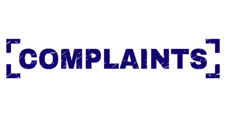 COMPLAINTS text seal imprint with corroded texture. Text title is placed inside corners. Blue vector rubber print of COMPLAINTS with dust texture. Illustration