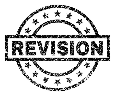 REVISION stamp seal watermark with distress style. Designed with rectangle, circles and stars. Black vector rubber print of REVISION title with corroded texture. Illustration