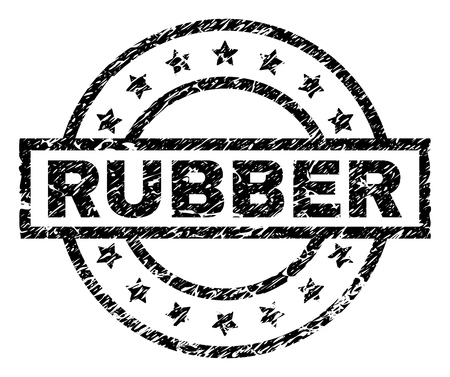RUBBER stamp seal watermark with distress style. Designed with rectangle, circles and stars. Black vector rubber print of RUBBER tag with scratched texture. Illustration