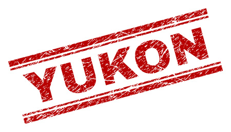 YUKON seal imprint with grunge texture. Red vector rubber print of YUKON tag with grunge texture. Text tag is placed between double parallel lines. Illustration