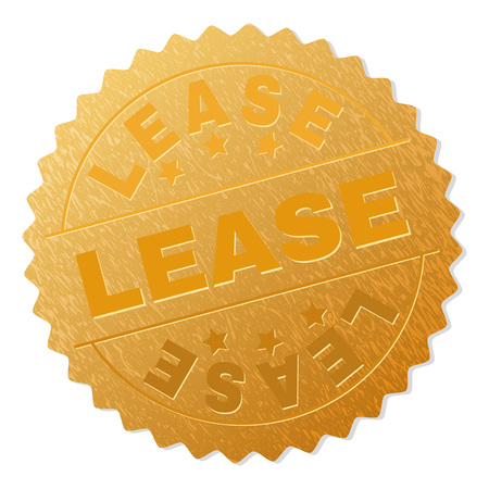 LEASE gold stamp award. Vector golden award with LEASE title. Text labels are placed between parallel lines and on circle. Golden area has metallic structure.