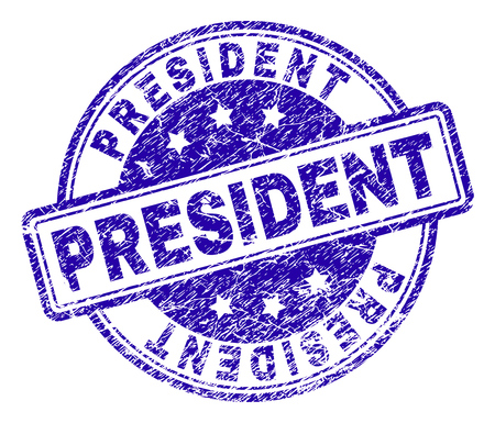 PRESIDENT stamp seal watermark with distress texture. Designed with rounded rectangles and circles. Blue vector rubber print of PRESIDENT tag with unclean texture. Vektoros illusztráció