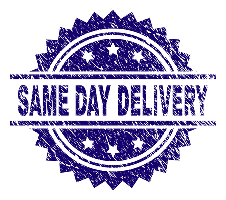 SAME DAY DELIVERY stamp seal watermark with distress style. Blue vector rubber print of SAME DAY DELIVERY tag with unclean texture.