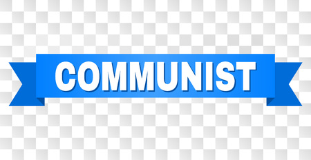 COMMUNIST text on a ribbon. Designed with white caption and blue stripe. Vector banner with COMMUNIST tag on a transparent background. Banque d'images - 115653692