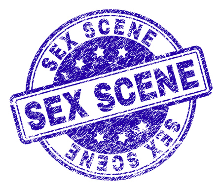 SEX SCENE stamp seal watermark with grunge texture. Designed with rounded rectangles and circles. Blue vector rubber print of SEX SCENE tag with retro texture. Ilustração