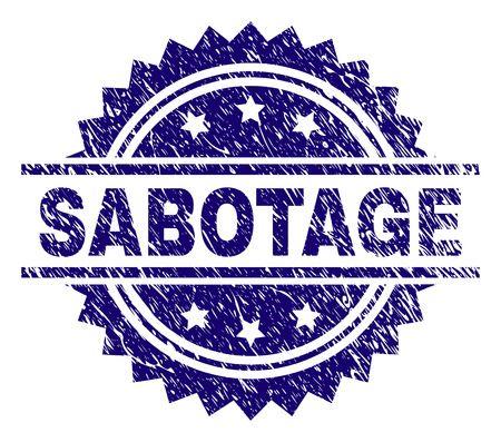 SABOTAGE stamp seal watermark with distress style. Blue vector rubber print of SABOTAGE text with unclean texture.