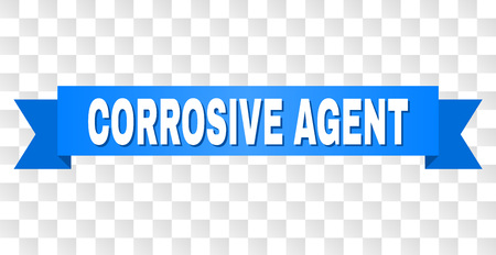 CORROSIVE AGENT text on a ribbon. Designed with white title and blue stripe. Vector banner with CORROSIVE AGENT tag on a transparent background. Illustration