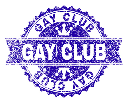 GAY CLUB rosette stamp seal imprint with distress style. Designed with round rosette, ribbon and small crowns. Blue vector rubber print of GAY CLUB title with scratched style. 일러스트