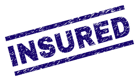 INSURED seal watermark with grunge style. Blue vector rubber print of INSURED label with scratched texture. Text label is placed between parallel lines.