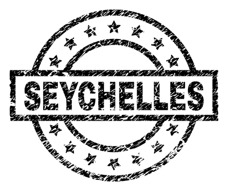 SEYCHELLES stamp seal watermark with distress style. Designed with rectangle, circles and stars. Black vector rubber print of SEYCHELLES text with dust texture.