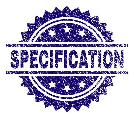 SPEZIFIKATION Stempelsiegel-Wasserzeichen im Distress-Stil. Blauer Vektorgummidruck des Etiketts SPEZIFIKATION mit korrodierter Textur. Vektorgrafik