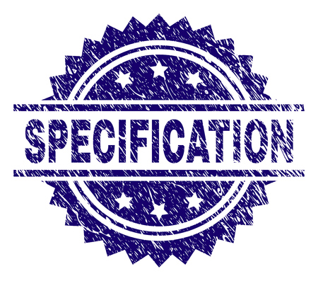 SPECIFICATION stamp seal watermark with distress style. Blue vector rubber print of SPECIFICATION label with corroded texture. Illustration