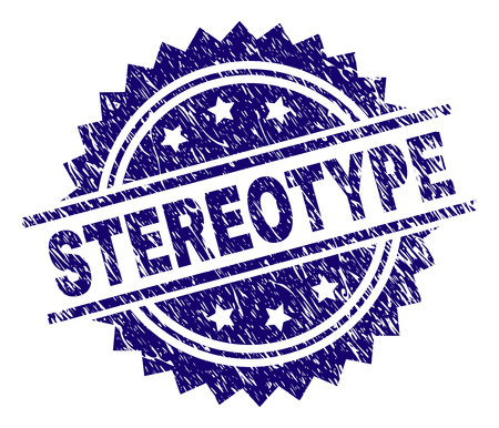 STEREOTYPE stamp seal watermark with distress style. Blue vector rubber print of STEREOTYPE label with dust texture.