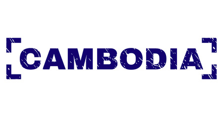 CAMBODIA text seal print with distress texture. Text label is placed between corners. Blue vector rubber print of CAMBODIA with dust texture.