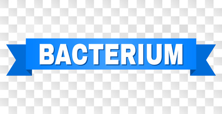 BACTERIUM text on a ribbon. Designed with white title and blue stripe. Vector banner with BACTERIUM tag on a transparent background.