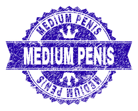 MEDIUM PENIS rosette stamp watermark with distress style. Designed with round rosette, ribbon and small crowns. Blue vector rubber print of MEDIUM PENIS text with grunge style. Ilustração