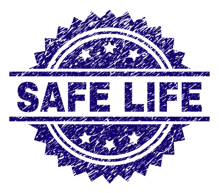 SAFE LIFE stamp seal watermark with distress style. Blue vector rubber print of SAFE LIFE caption with scratched texture. Illustration