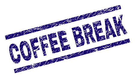 COFFEE BREAK seal print with grunge style. Blue vector rubber print of COFFEE BREAK tag with grunge texture. Text tag is placed between parallel lines. Illusztráció