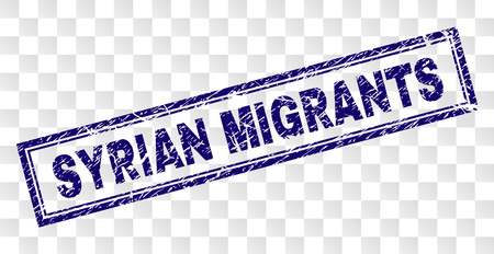 SYRIAN MIGRANTS stamp seal print with rubber print style and double framed rectangle shape. Stamp is placed on a transparent background. Illustration