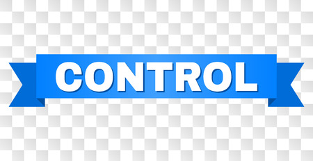 CONTROL text on a ribbon. Designed with white title and blue stripe. Vector banner with CONTROL tag on a transparent background. Illustration