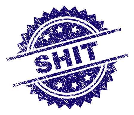 SHIT stamp seal watermark with distress style. Blue vector rubber print of SHIT text with retro texture.