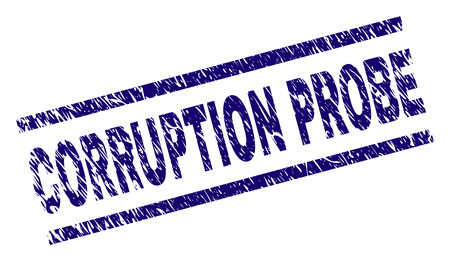 CORRUPTION PROBE seal imprint with distress style. Blue vector rubber print of CORRUPTION PROBE title with unclean texture. Text title is placed between parallel lines. Illustration