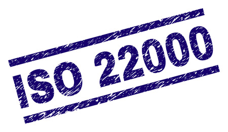 ISO 22000 seal imprint with grunge style. Blue vector rubber print of ISO 22000 tag with grunge texture. Text tag is placed between parallel lines.