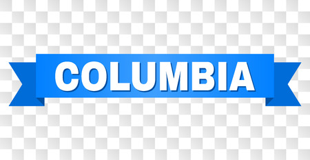 COLUMBIA text on a ribbon. Designed with white title and blue stripe. Vector banner with COLUMBIA tag on a transparent background.