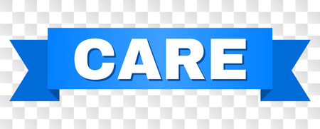 CARE text on a ribbon. Designed with white caption and blue stripe. Vector banner with CARE tag on a transparent background.
