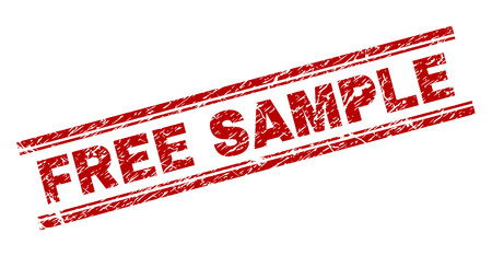 FREE SAMPLE seal print with corroded texture. Red vector rubber print of FREE SAMPLE caption with grunge texture. Text label is placed between double parallel lines.