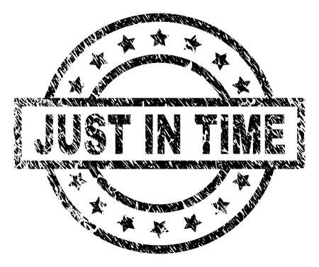 JUST IN TIME stamp seal watermark with distress style. Designed with rectangle, circles and stars. Black vector rubber print of JUST IN TIME text with scratched texture.