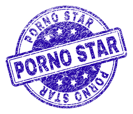 PORNO STAR stamp seal imprint with distress texture. Designed with rounded rectangles and circles. Blue vector rubber print of PORNO STAR label with dust texture.